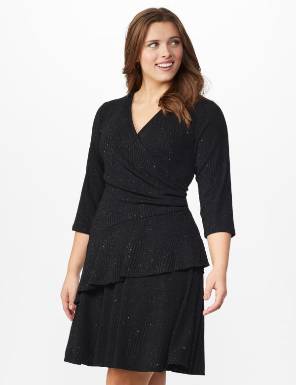 Tiered knit Dress - Plus - Black - Front