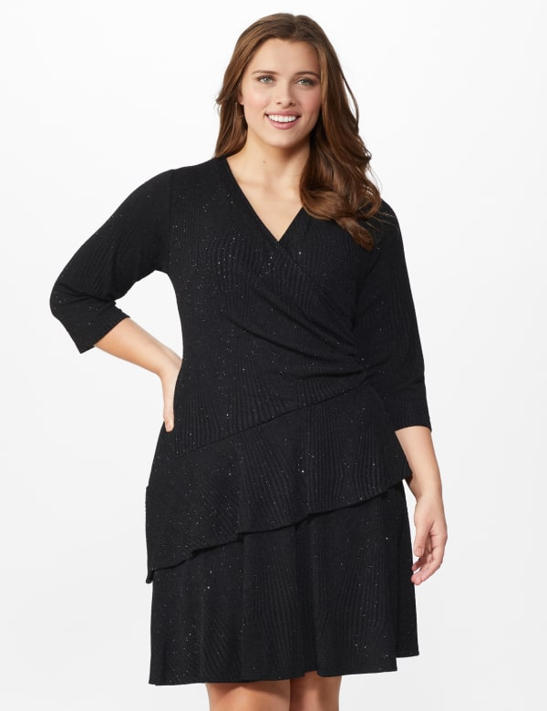 Glitter Knit Tiered Dress - Plus - Black - Front