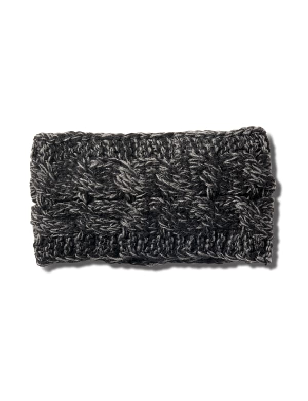 Cable Knit Braided Head Wrap - Heather Grey - Front