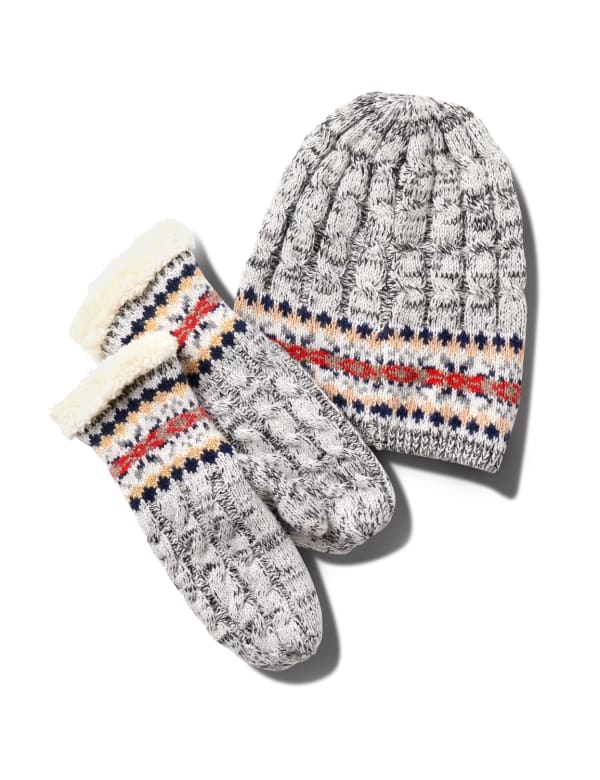 Fair Isle Hat and Mitten Set - Light Heather Grey - Front