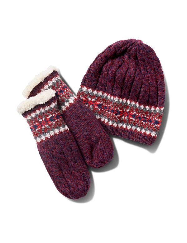 Fair Isle Hat and Mitten Set - Burgundy - Front