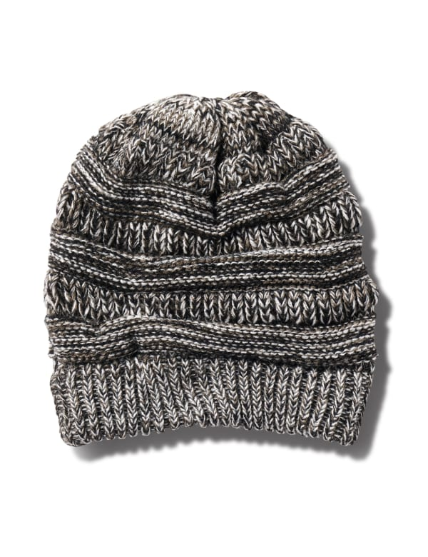 Novelty Cable Rib Hat - Heather Grey - Front