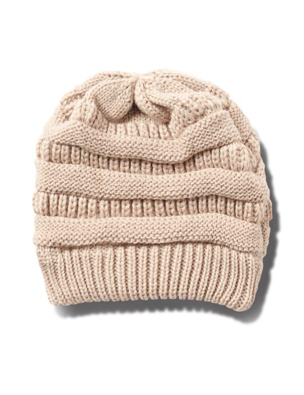 Novelty Cable Rib Hat - Natural - Front