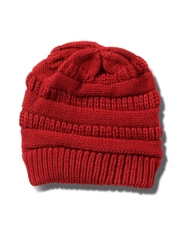 Novelty Cable Rib Hat -Red - Front