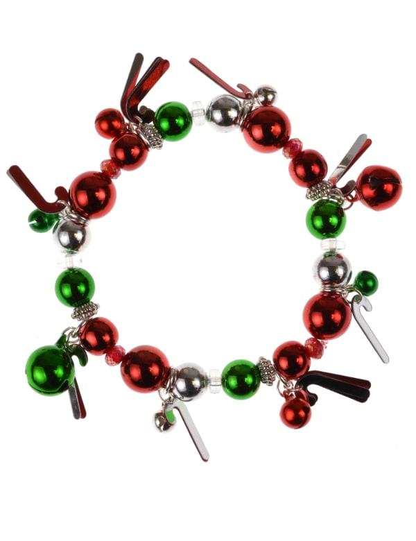 Candy Cane Charm Bracelet - Multi - Front
