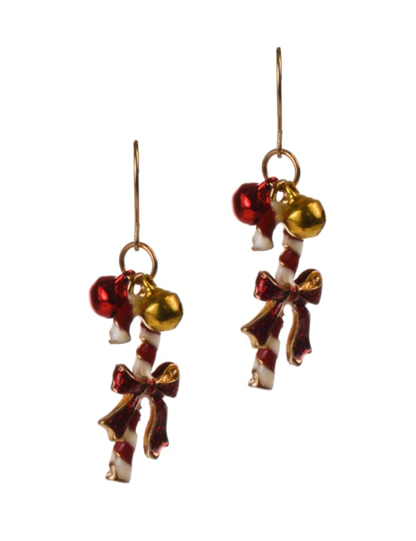 Candy Cane Earrings - Multi - Front