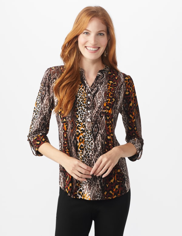 Roz & Ali Animal Knit Pintuck Popover - Misses - Brown - Front
