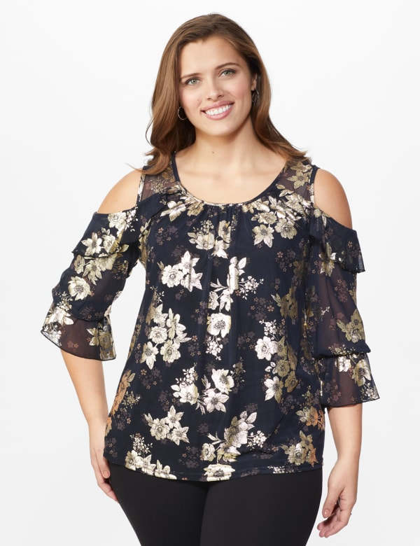 Roz & Ali Gold Floral Cold Shoulder Blouse - Plus - Black - Front