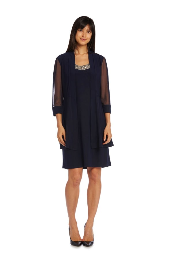 Knee-Length Dress with Beaded Neckline and Soft Jacket with Sheer Sleeves - Petite - Navy - Front