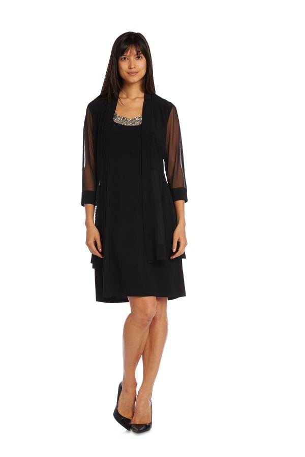 Knee-Length Dress with Beaded Neckline and Soft Jacket with Sheer Sleeves - Petite - Black - Front