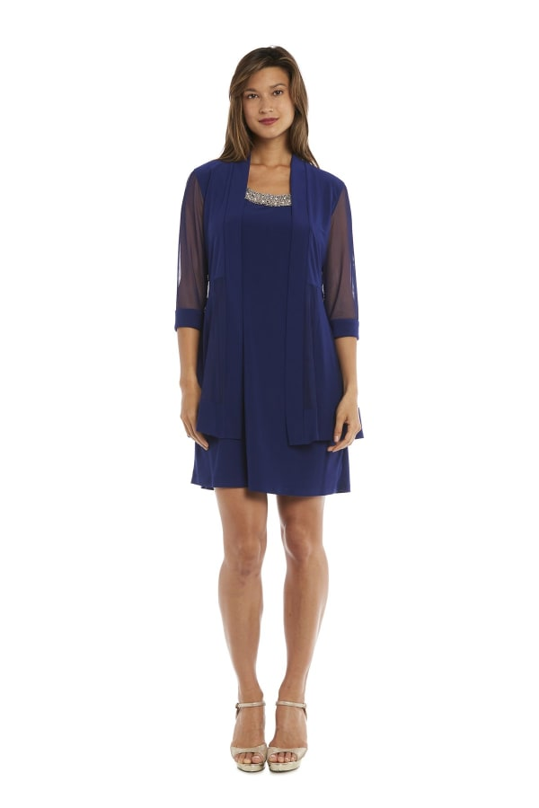 Knee-Length Dress with Beaded Neckline and Soft Jacket with Sheer Sleeves - Petite - Royal Blue - Front