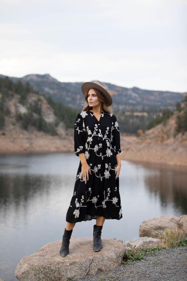 Silvia Embroidered Midi Dress