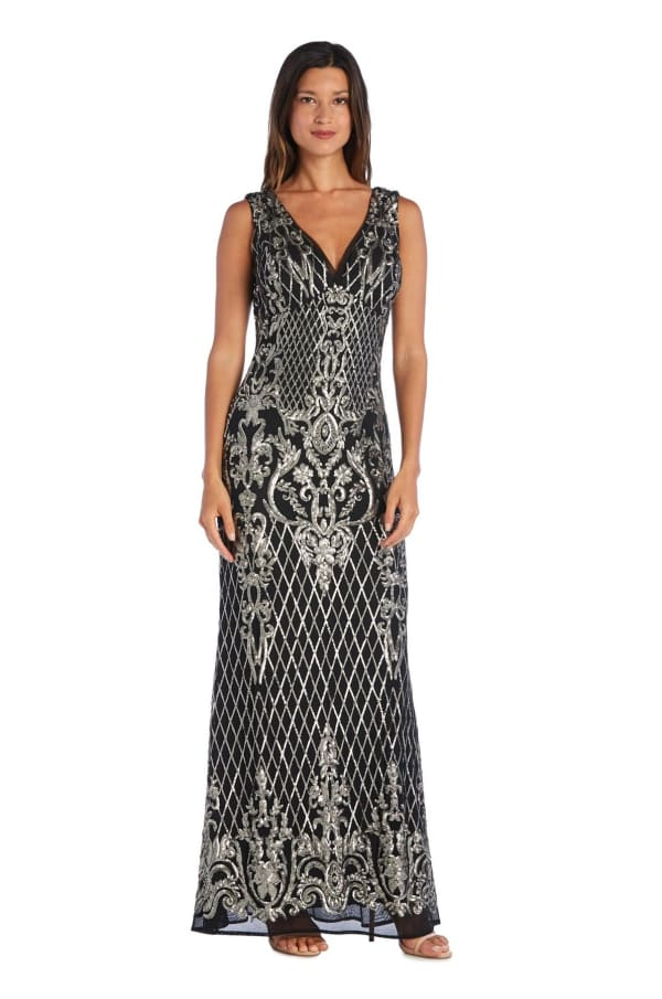 Sequined Maxi Gown with V-Neck and Fitted Silhouette - Petite - Black / Gold - Front