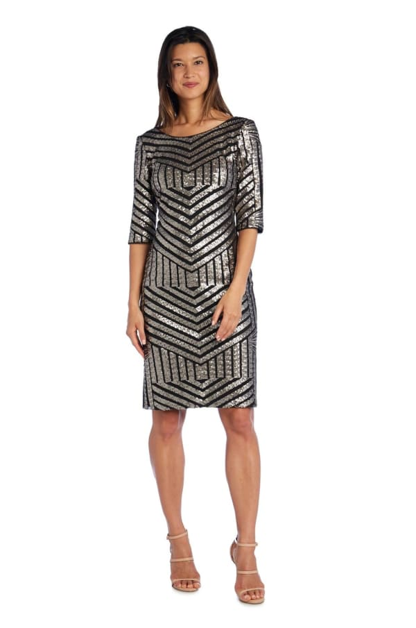 3/4 Sleeve Sheath Dress with Sequin Detail - Petite - Black / Gunmetal - Front