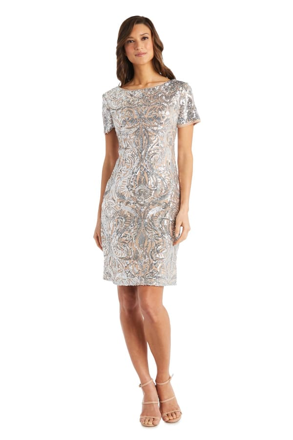 Scroll Panel Sequin Dress - Petite - Mauve / Gold - Front
