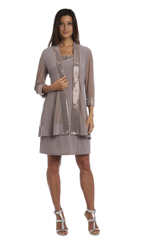 Dress and Jacket Set with Sheer Sleeves and Embellished Edges - Petite - Champagne - Front