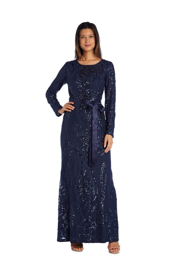 Long-Sleeved Evening Gown with Sequins, Satin Sash and Cutout Back - Petite - Navy - Front