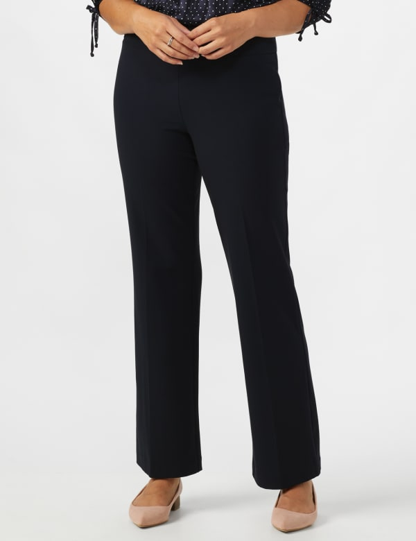 Roz & Ali Secret Agent Pull On Tummy Control Pants - Short Length -Navy - Front