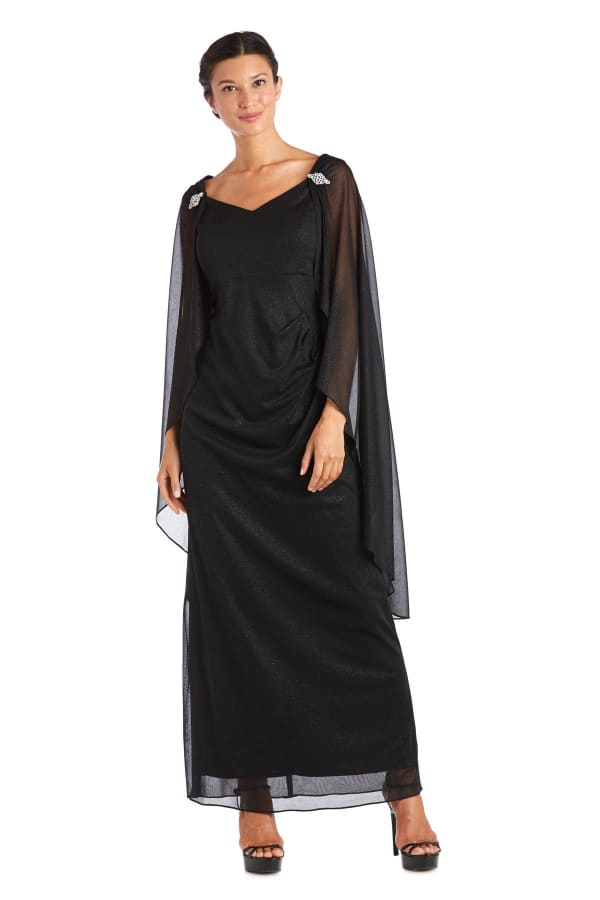 Empire Waist Gown with Sweetheart Neck and Attached Cape - Petite - Black - Front
