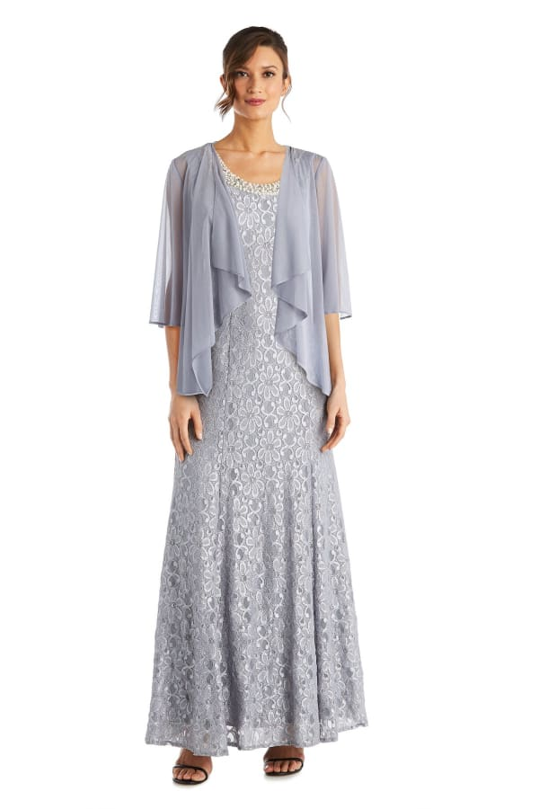 Long Flyaway Sheer Jacket Over Lace Aline Dress With Beaded Necklace - Petite - Silver - Front