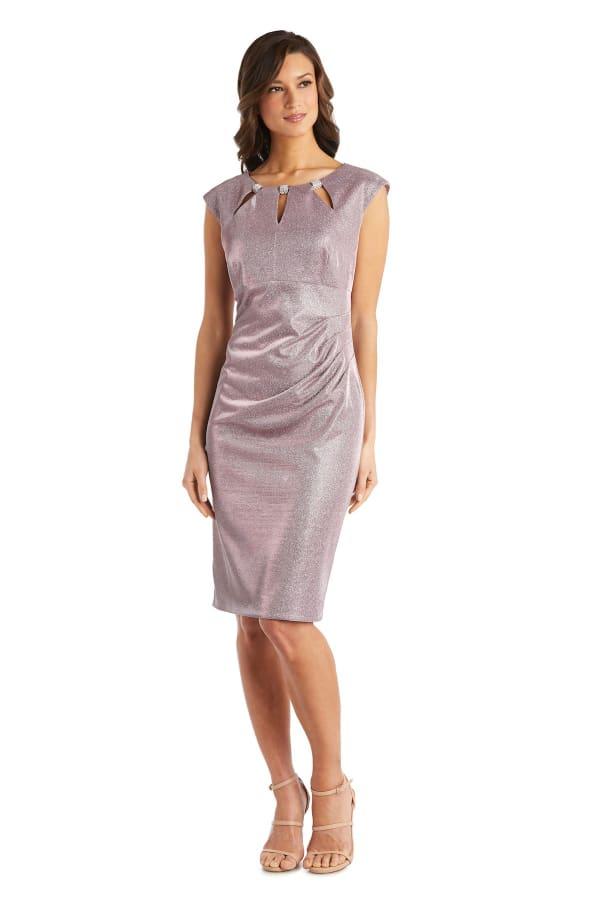 Rhinestone Accent Pleated Short Dress - Petite - Mauve - Front