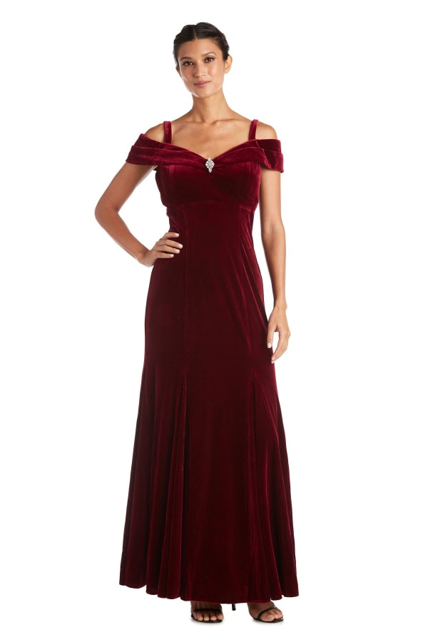 Long Stretch Velvet Off the Shoulder Gown - Petite - Burgundy - Front