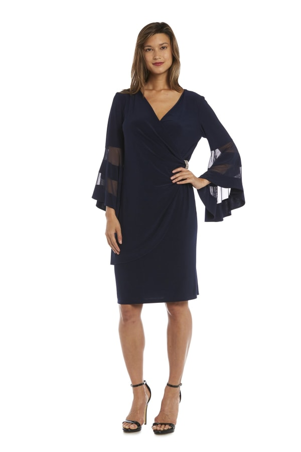 Knee-Length Dress with Bell Sleeves, Wrapover Detail, and Sheer Inserts - Petite - Navy - Front