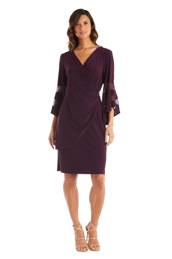 Knee-Length Dress with Bell Sleeves, Wrapover Detail, and Sheer Inserts - Petite - Plum - Front