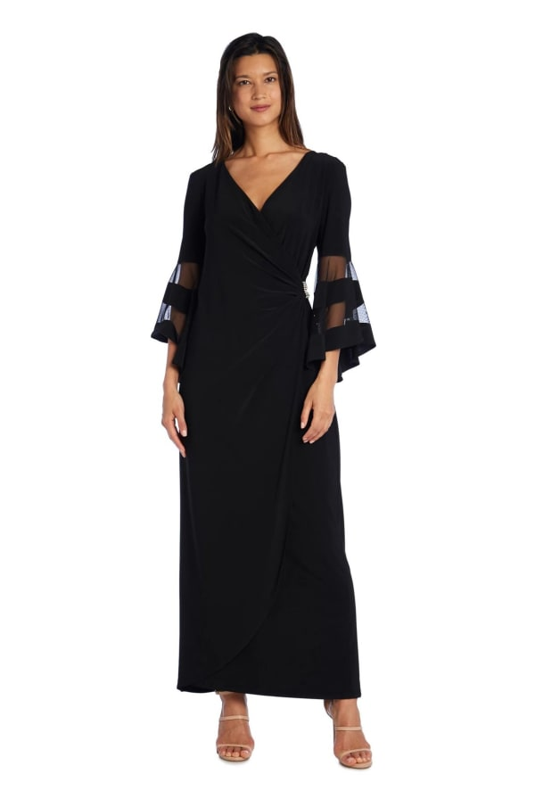 Crossover Maxi Dress with Bell Sleeves and Sheer Inserts - Petite - Black - Front