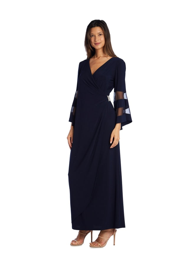 Crossover Maxi Dress with Bell Sleeves and Sheer Inserts - Petite - Navy - Front