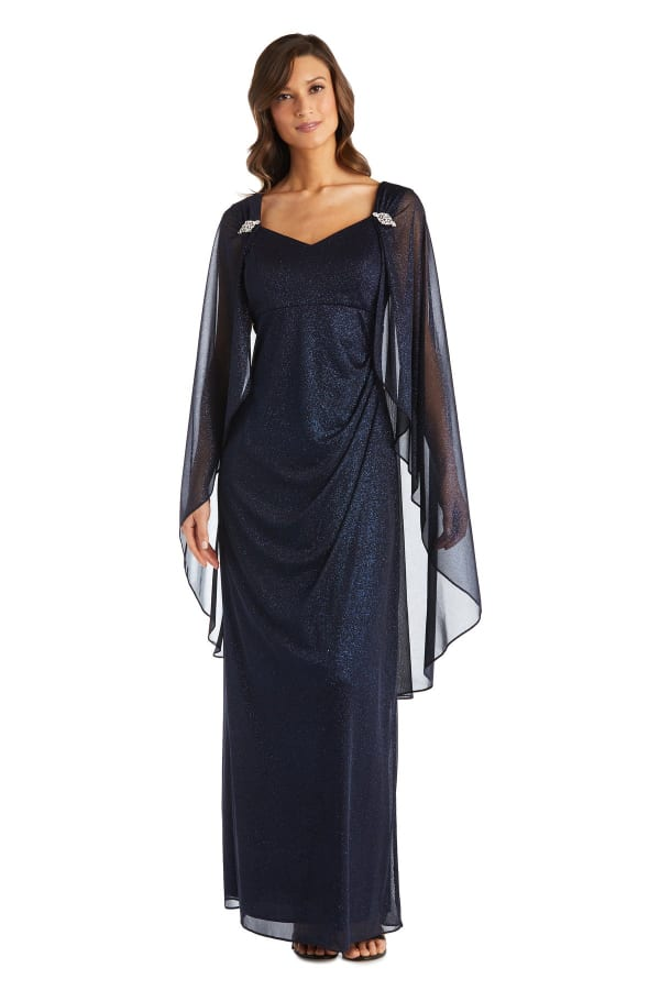 Empire Waist Gown with Sweetheart Neck and Attached Cape - Petite - Navy - Front