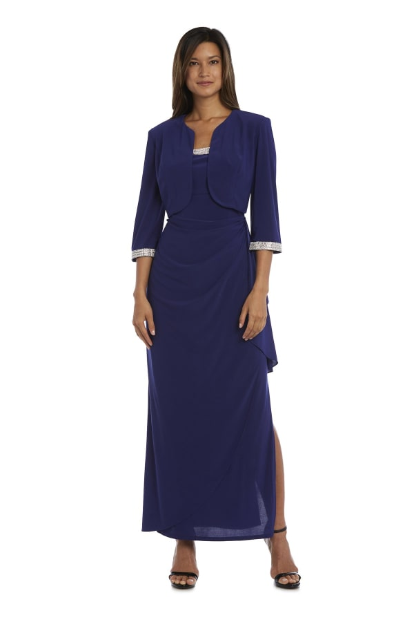 Evening Gown and Cropped Jacket Set with Diamante Detail - Petite - Royal Blue - Front