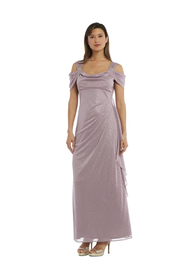 Glitter Mesh Column Dress with Draping and Shoulder Caps - Petite - Mauve - Front