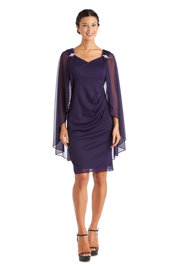 Short Empire Sweetheart Neck Dress with Sheer Cape - Petite - Iris - Front