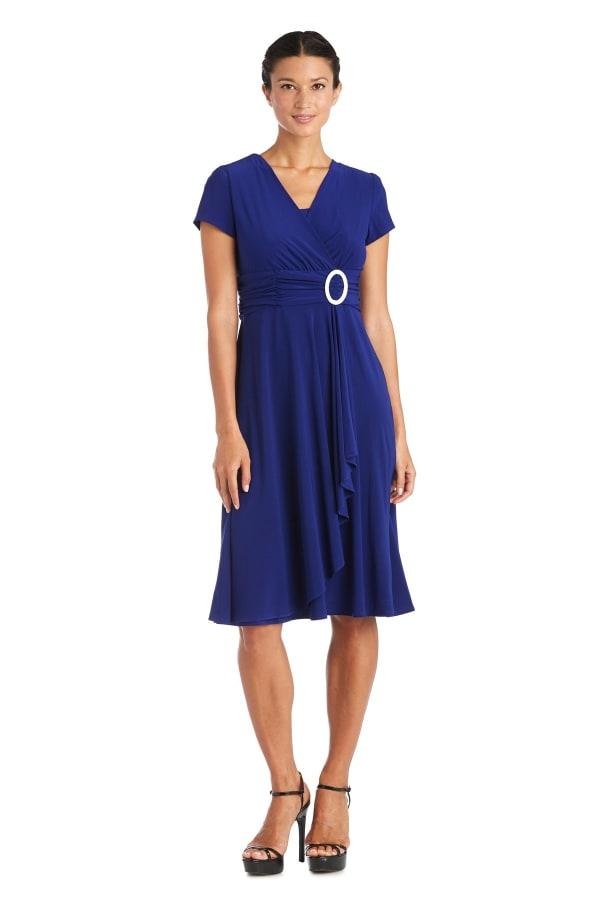 Short-Sleeve Faux-Wrap Dress - Petite - Electric Blue - Front