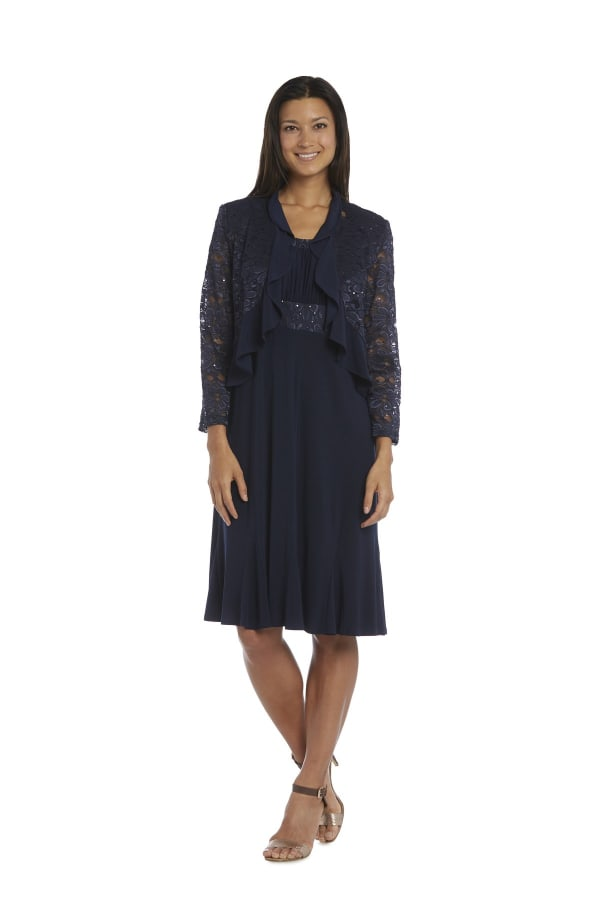 Knee-Length Dress with Ruched Bust and Lace Jacket - Petite - Navy - Front