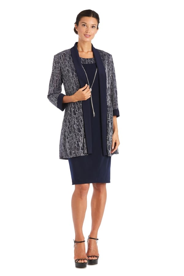 Two-Piece Metallic Knit Jacket Dress -Petite - Navy / Silver - Front
