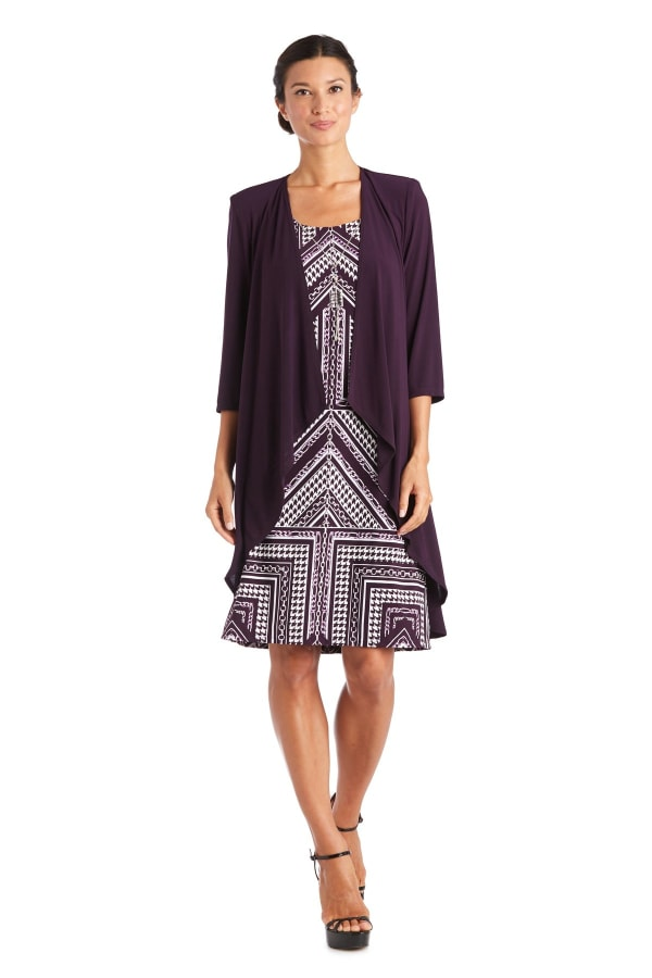 Knee-Length Dress with Beaded Neckline and Soft Jacket with Sheer Sleeves - Petite - Plum - Front