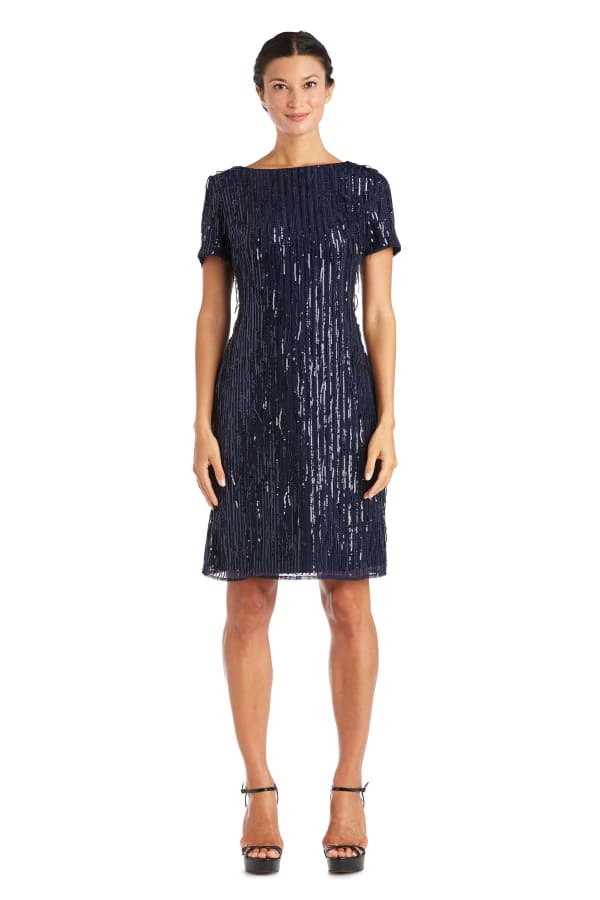 One Piece Short Sequin Shimmy Dress - Petite - Navy - Front