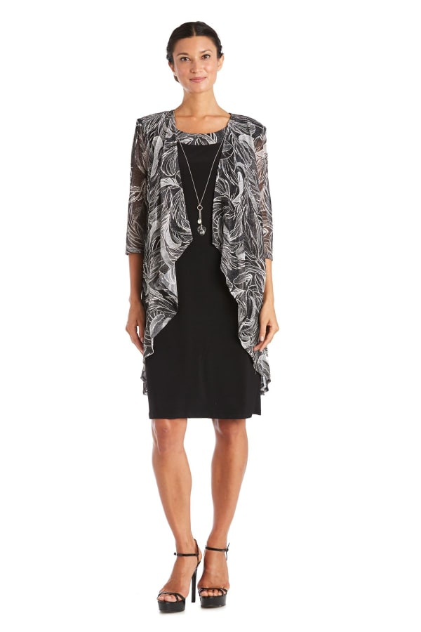 Two-Piece Puff Print Jacket Dress - Petite - Black / Ivory - Front