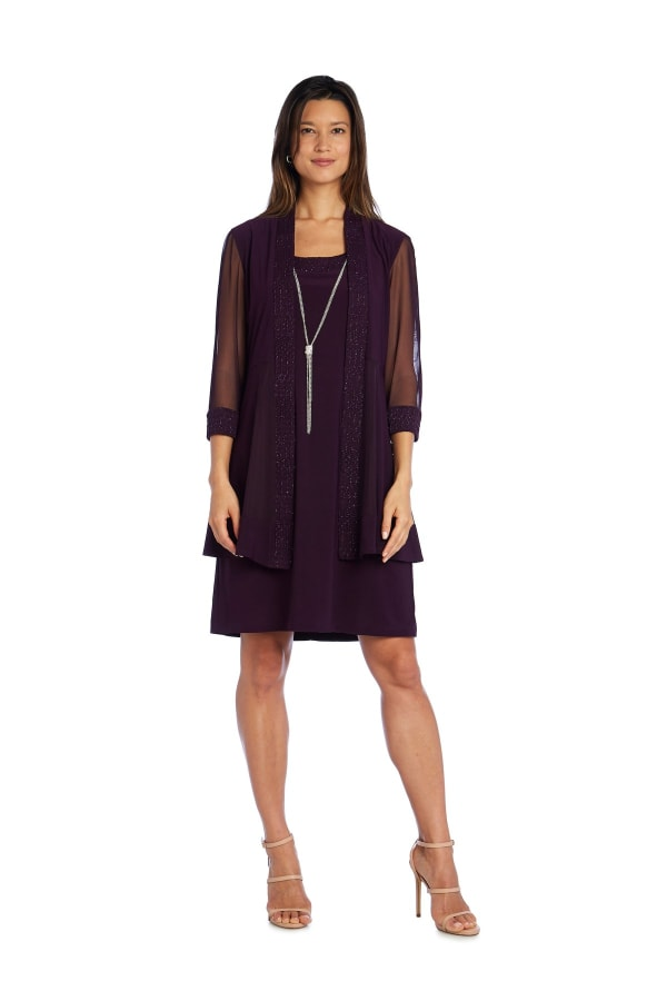 Shift Dress and Jacket Set with Textured Detail and Sheer Inserts - Petite - Plum - Front
