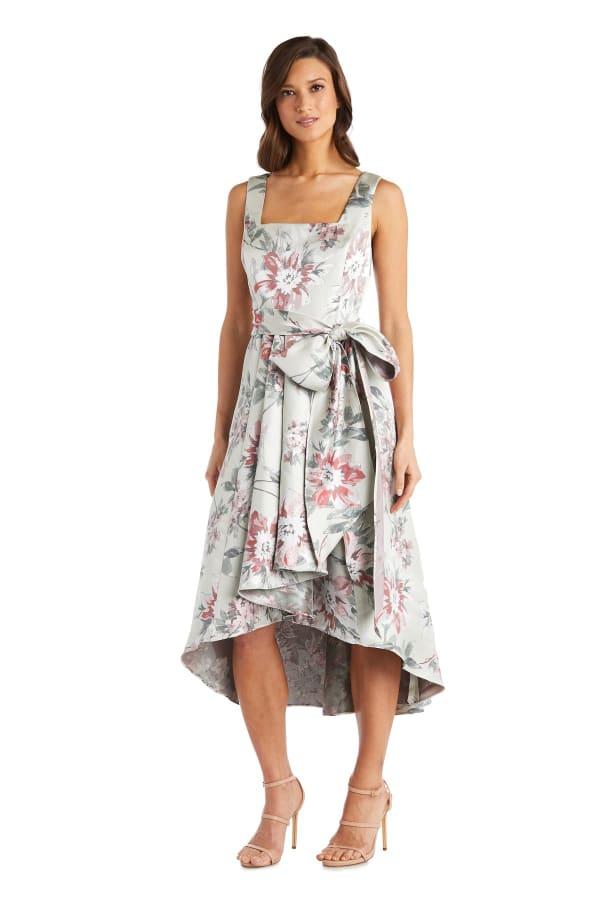 Square Neck High-Low Party Dress - Petite - Sage - Front