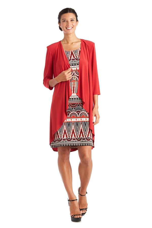 Puff Print Jacket Dress-Petite - Red - Front