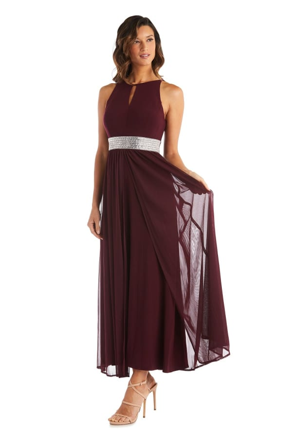 Long Gown with Keyhole Cutout, Halterneck and Flowing Skirt - Petite - Burgundy - Front