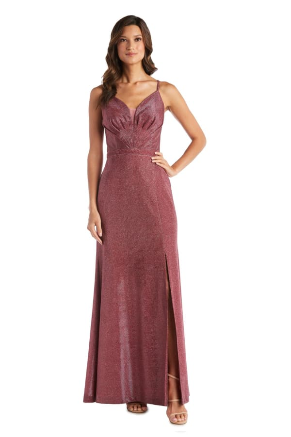 Long Shimmer Gown With Spaghetti Strap - Petite - Rose - Front