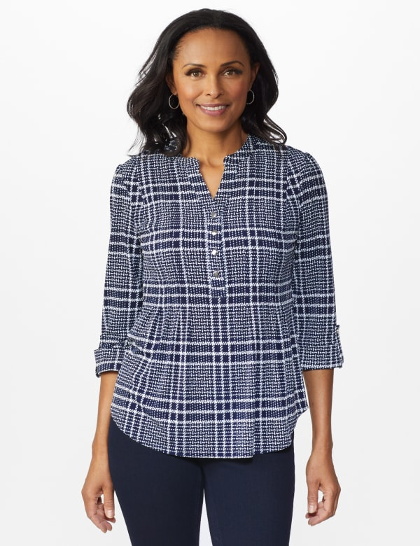 Roz & Ali Navy Plaid Pintuck Knit Popover - NAVY-WHITE - Front