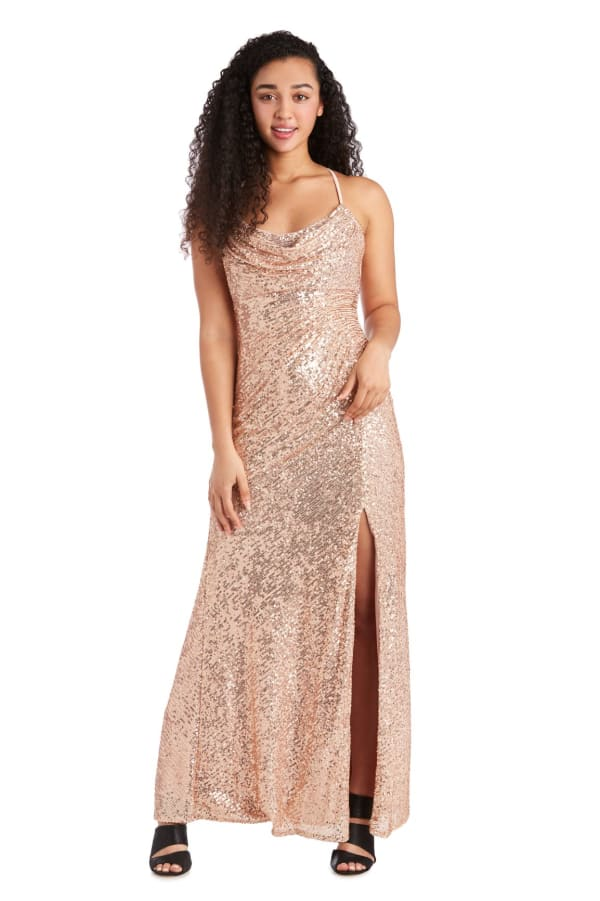 Long All Over Sequin Drape Cowl with Adjustable Spaghetti Strap - Petite - Gold - Front