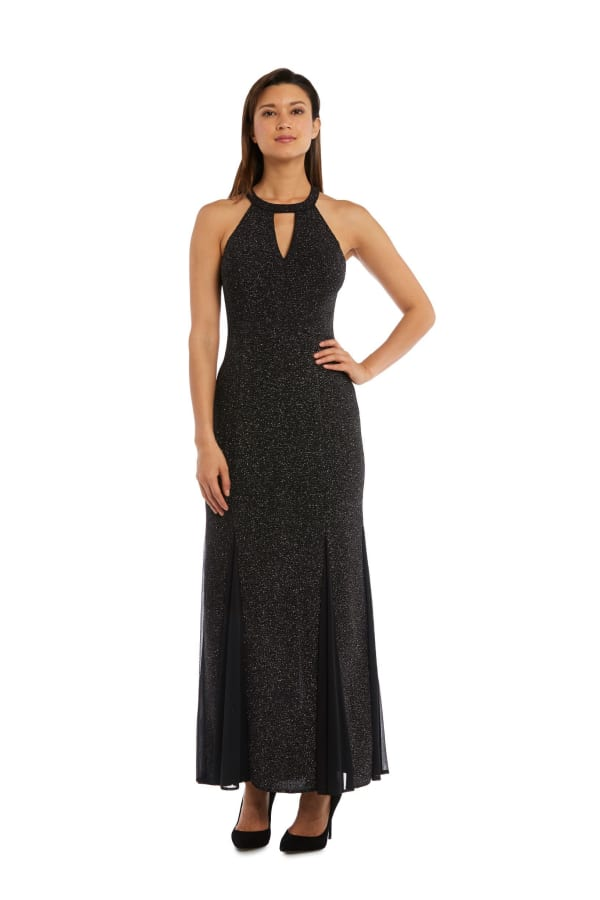 Nightway Long Glitter Knit - Petite - Black / Silver - Front