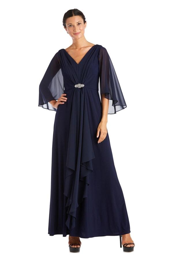 Long Matte Chiffon Dress - Petite - Navy - Front