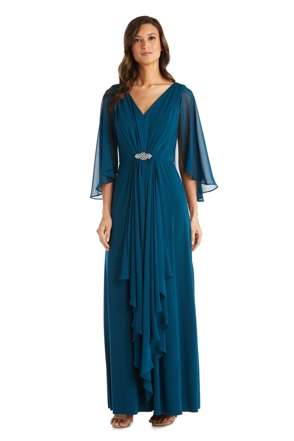 Long Matte Chiffon Dress - Petite - Pine - Front